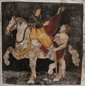 San Martino di Tours - formella in marmo sull'appoggio della statua della Vergine Addolorata