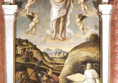 Pala di Gerolamo da SANTA CROCE raffigurante cristo risorto e l'annunciazione